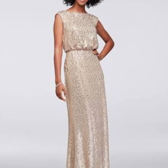 8cff8dc143a05 David's Bridal Dresses   Long Gold Sequin Dress   Poshmark